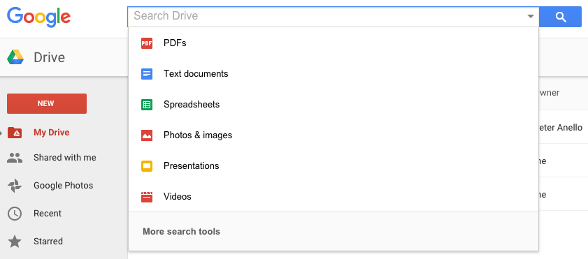 Google Drive Advanced Search